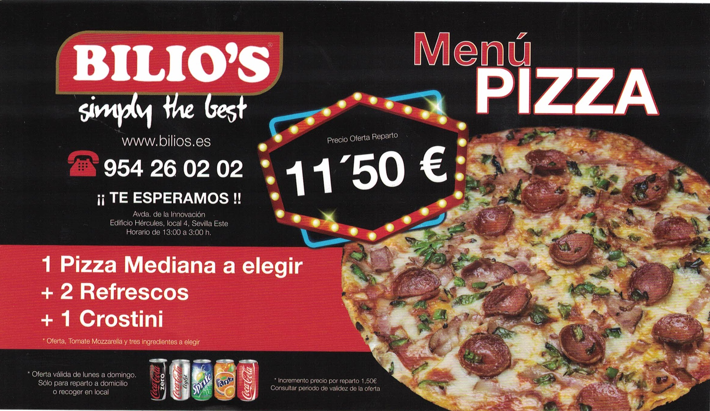 MENU PIZZA 11,50